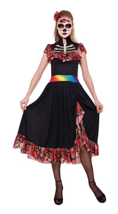 Adult Mexican Day Of The Dead Zombie Ladies Halloween Fancy Dress Costume Outfit Thumbnail 1