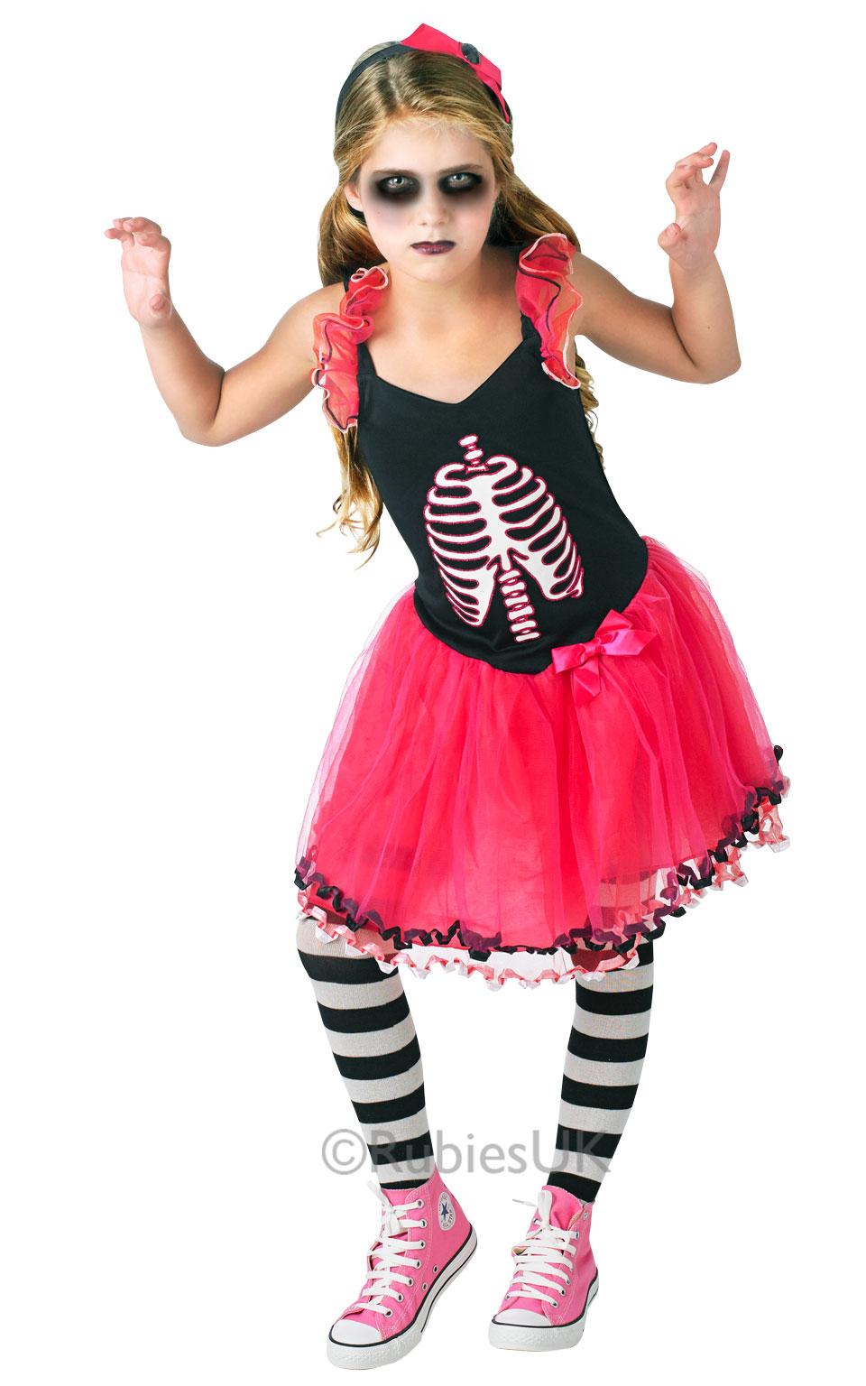 Niu00f1os Esqueleto Huesos Tutu Vestido De Disfraz CHILDS CHICAS Fiesta De Halloween Traje De ...