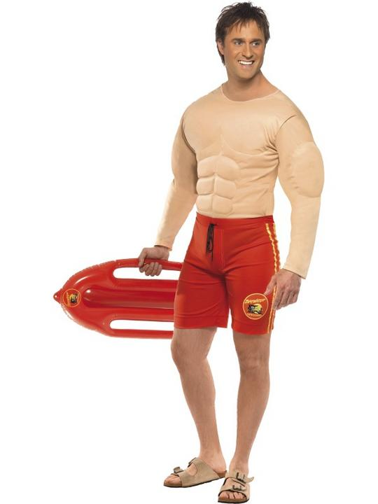 SALE! Adult Licensed TVs Baywatch Lifeguard Mens Fancy Dress Stag Party Costume Thumbnail 2