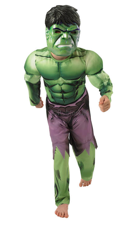 Child Licensed Marvel Avengers Superhero Deluxe Hulk Fancy Dress Kids Costume Thumbnail 1