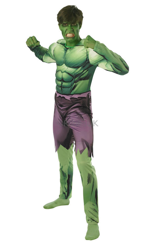SALE Adult Marvel Avengers Deluxe Superhero Hulk Mens Fancy Dress Costume Outfit