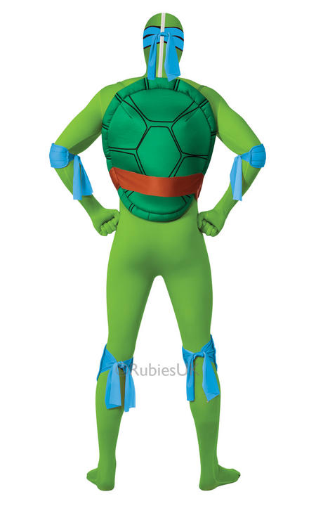 Adult Ninja Turtles Leonardo Costume Mens 2nd Skin TMNT Fancy Dress Outfit Thumbnail 2
