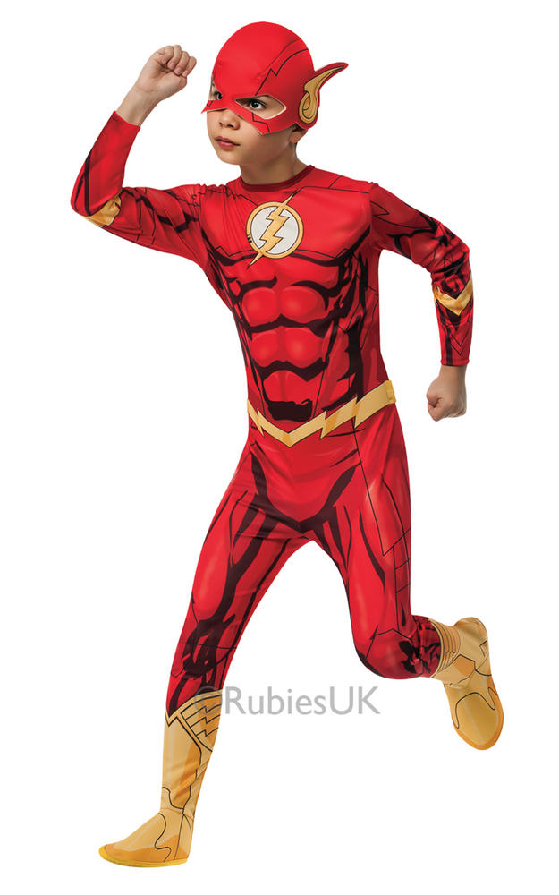 Child Superhero The Flash Boys Comic Book Week Fancy Dress Kids Party Costume