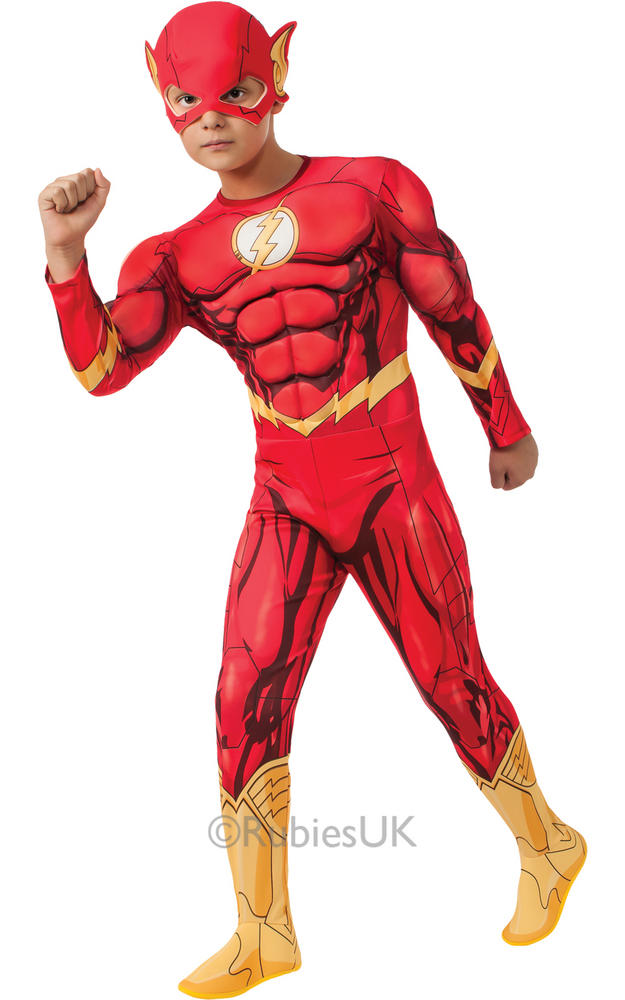Child Superhero Deluxe The Flash Boys Comic Book Week Fancy Dress Kids Costume