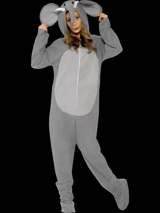 Adults Zoo Animal Elephant Jumpsuit Mens/Ladies Fancy Dress Costume Party Outfit Thumbnail 1