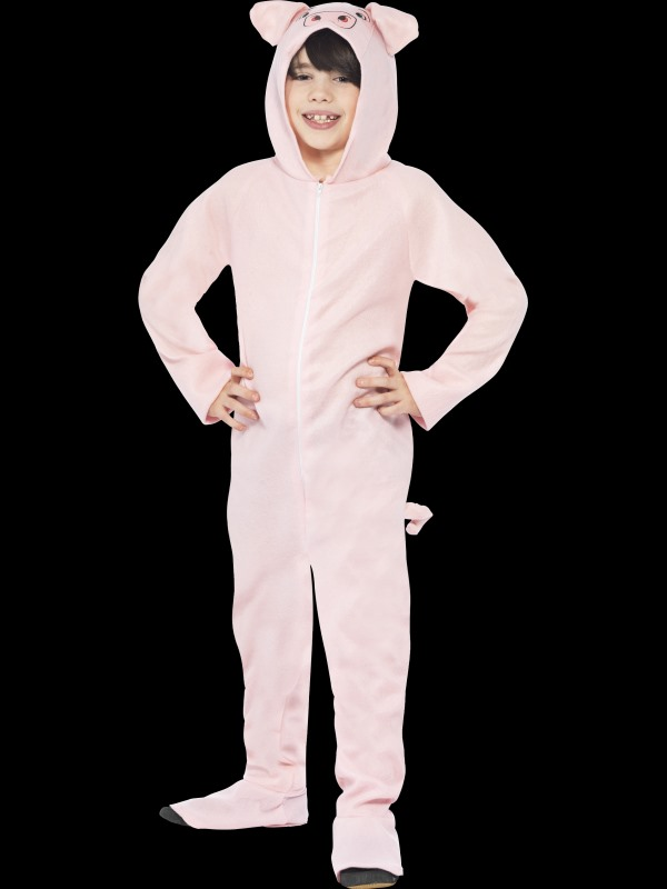 Kids Farm Animal Pink Pig Jumpsuit Girls / Boys Fancy Dress Costume Party Outfit