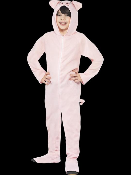 Kids Farm Animal Pink Pig Jumpsuit Girls / Boys Fancy Dress Costume Party Outfit Thumbnail 1