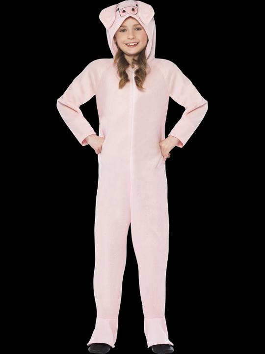 Kids Farm Animal Pink Pig Jumpsuit Girls / Boys Fancy Dress Costume Party Outfit Thumbnail 2