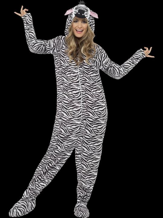 SALE! Adult Zoo Animal Zebra Jumpsuit Fancy Dress Costume Party Outfit Thumbnail 1