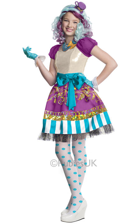 Girls Halloween Ever After High Maddeline Hatter Costume Kids Fancy Dress Outfit Thumbnail 1