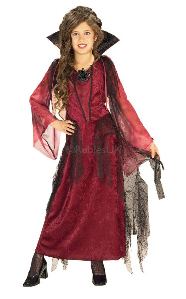 Girls Gothic Vampiress Fancy Dress Costume Thumbnail 1