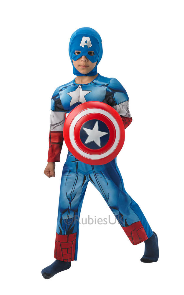 Kids Marvel Avengers Superhero CAPTAIN AMERICA Boys Fancy Dress Costume Outfit