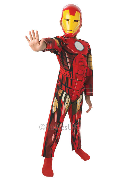 Kids Marvel Avengers Superhero IRON MAN Boys Fancy Dress Childs Costume Outfit Thumbnail 1