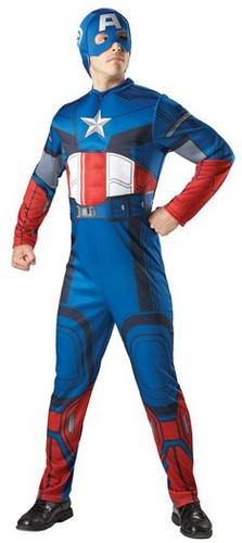 Adult Marvel Muscle Chest Superhero Captain America Mens Fancy Dress Costume Thumbnail 1
