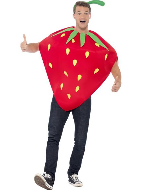 Adult Funny Garden Red Strawberry Fruit Ladies Fancy Dress Costume Party Outfit Thumbnail 2
