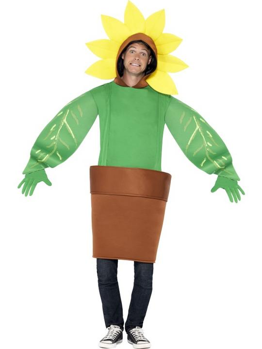 Adult Funny Garden Flower Pot Sunflower Ladies Fancy Dress Costume Party Outfit Thumbnail 2