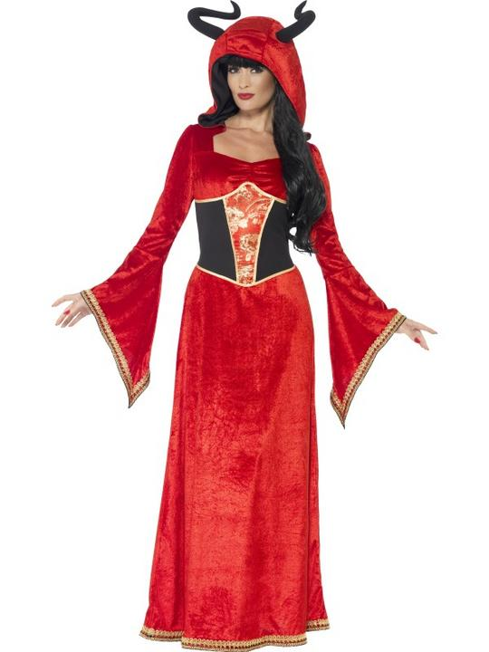 Adult Sexy Red Demonic Devil Queen Ladies Halloween Fancy Dress Costume Outfit Thumbnail 1