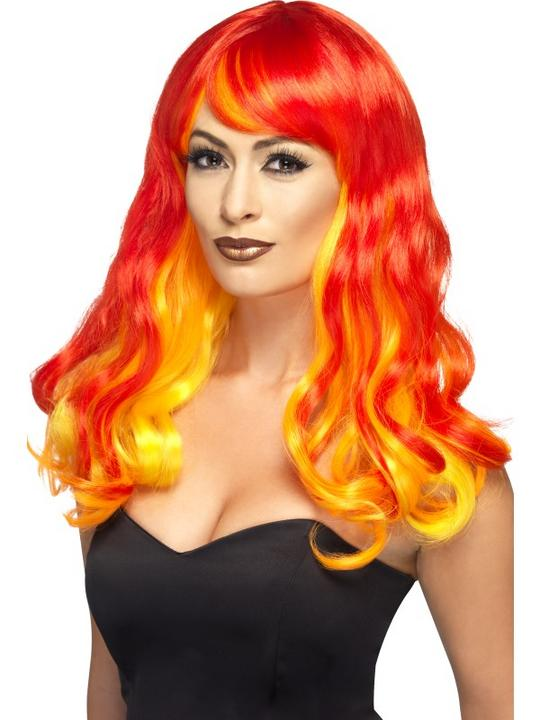 Adult Sexy Flame Devil Wig Ladies Halloween Party Fancy Dress Costume Accessory Thumbnail 1