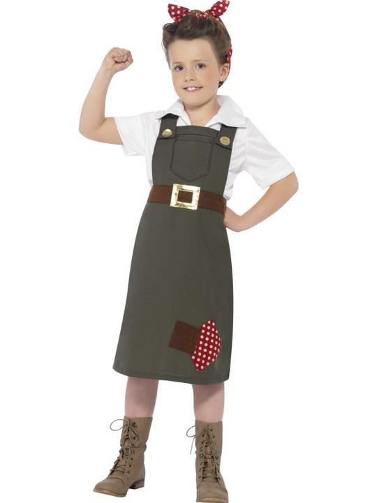 Child WW2 World War Munitions Worker Girls Book Week Fancy Dress Kids Costume Thumbnail 1