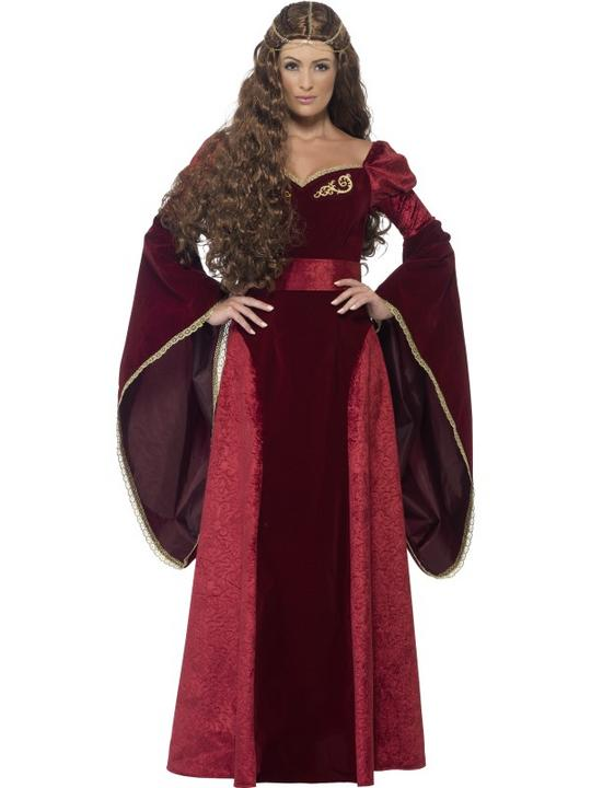 New! Adult Deluxe Medieval Royal Queen Ladies Fancy Dress Costume Party Outfit Thumbnail 1