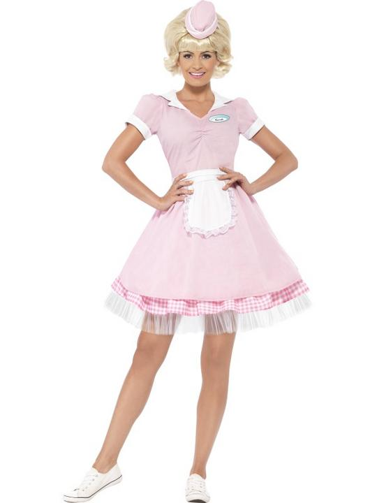 Beautiful 50's Soda Pop Diner Girl Ladies Fancy Dress Costume Hen Night Outfit Thumbnail 1