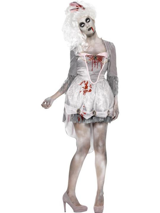 Adult Sexy Zombie Georgian Dress Ladies Halloween Fancy Dress Costume Outfit Thumbnail 1