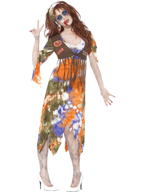 Adult 60s 70s Zombie Hippie Ladies Halloween Party Fancy Dress Costume Outfit