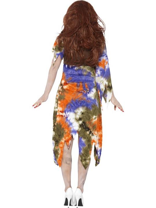 Adult 60s 70s Zombie Hippie Ladies Halloween Party Fancy Dress Costume Outfit Thumbnail 2