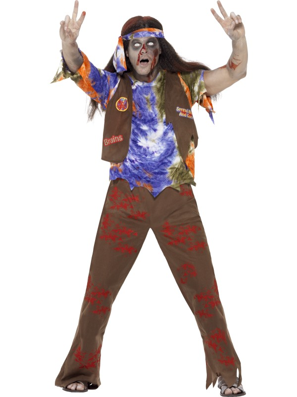 SALE Adult 60s 70s Zombie Hippie Mens Halloween Party Fancy Dress Costume Outfit