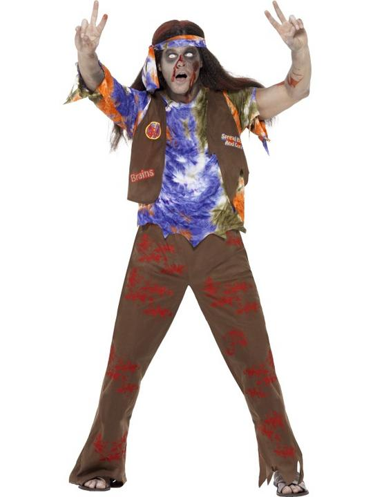 SALE Adult 60s 70s Zombie Hippie Mens Halloween Party Fancy Dress Costume Outfit Thumbnail 1