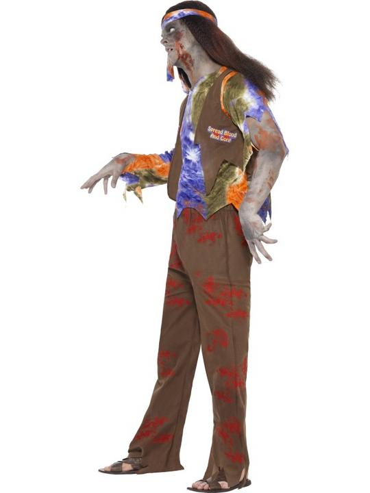 SALE Adult 60s 70s Zombie Hippie Mens Halloween Party Fancy Dress Costume Outfit Thumbnail 3