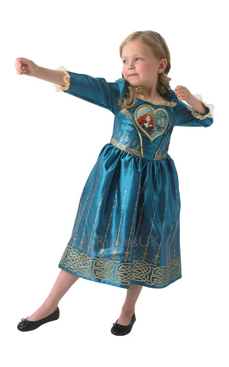 Child Disney Princess Loveheart Merida Girls Book Week Fancy Dress Kids Costume Thumbnail 1