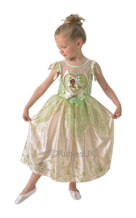 Kids Disney Princess Loveheart Tiana Girls Fancy Dress Childs Costume  Outfit Thumbnail 1