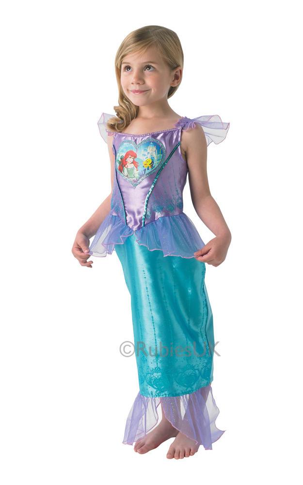 Child Disney Princess Loveheart Ariel Girls Book Week Fancy Dress Kids Costume
