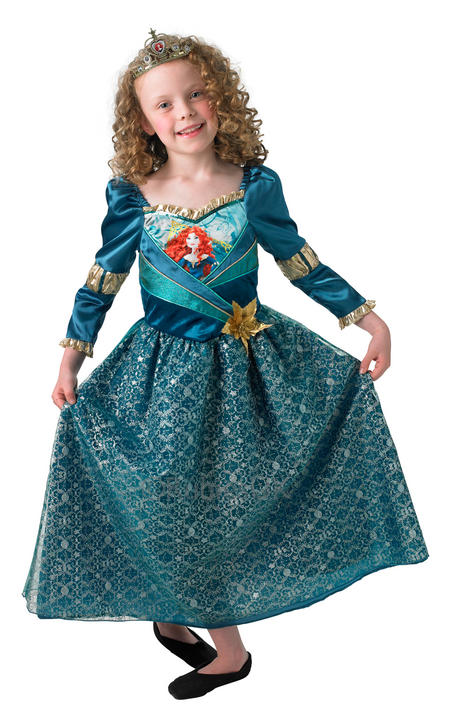 Child Disney Princess Shimmer Merida Girls Book Week Fancy Dress Kids Costume Thumbnail 1