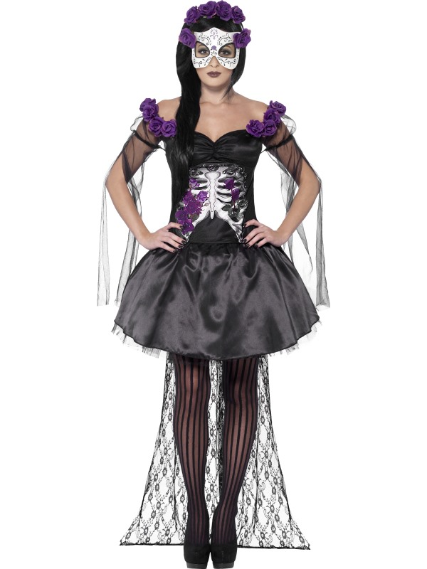 Adult Sexy Mexican Day Of The Dead Senorita Ladies Halloween Fancy Dress Costume