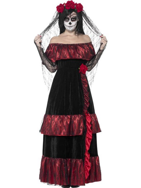 Adult Mexican Day Of The Dead Zombie Bride Ladies Halloween Fancy Dress Costume Thumbnail 1