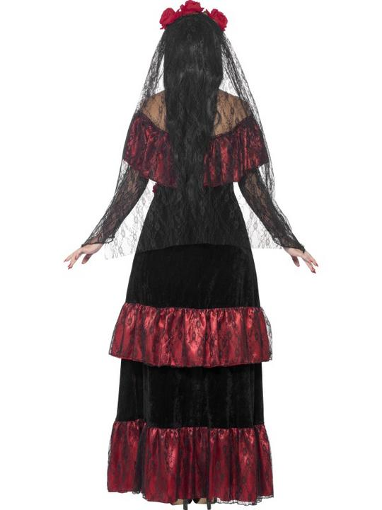 Adult Mexican Day Of The Dead Zombie Bride Ladies Halloween Fancy Dress Costume Thumbnail 2