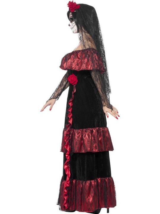 Adult Mexican Day Of The Dead Zombie Bride Ladies Halloween Fancy Dress Costume Thumbnail 3