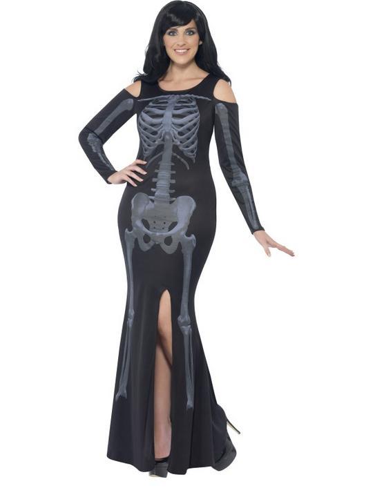 Adult Fuller Figure Sexy Skeleton Bones Ladies Halloween Fancy Dress Costume Thumbnail 1