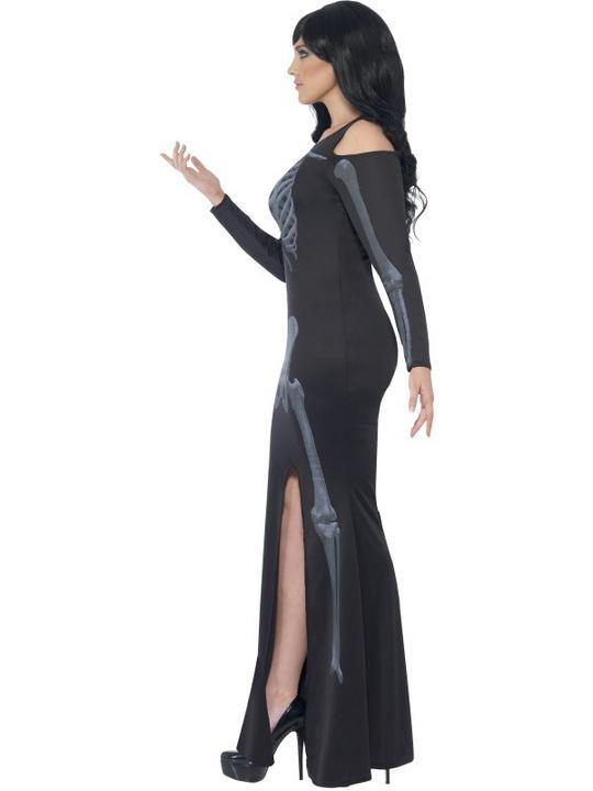 Adult Fuller Figure Sexy Skeleton Bones Ladies Halloween Fancy Dress Costume Thumbnail 3