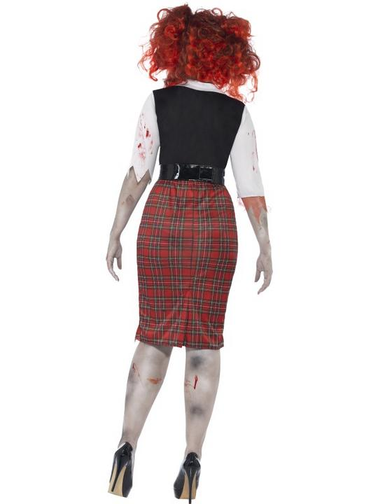 Adult Fuller Figure Sexy Zombie School Girl Ladies Halloween Fancy Dress Costume Thumbnail 2