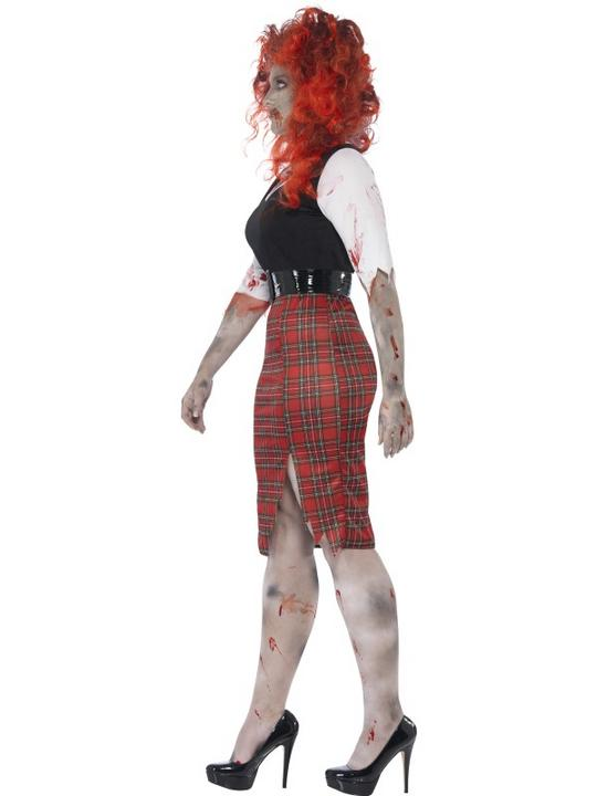 Adult Fuller Figure Sexy Zombie School Girl Ladies Halloween Fancy Dress Costume Thumbnail 3