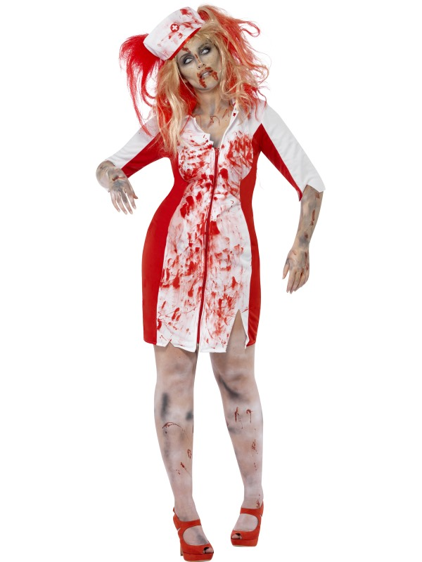 Adult Fuller Figure Sexy Zombie Nurse Ladies Halloween Party Fancy Dress Costume