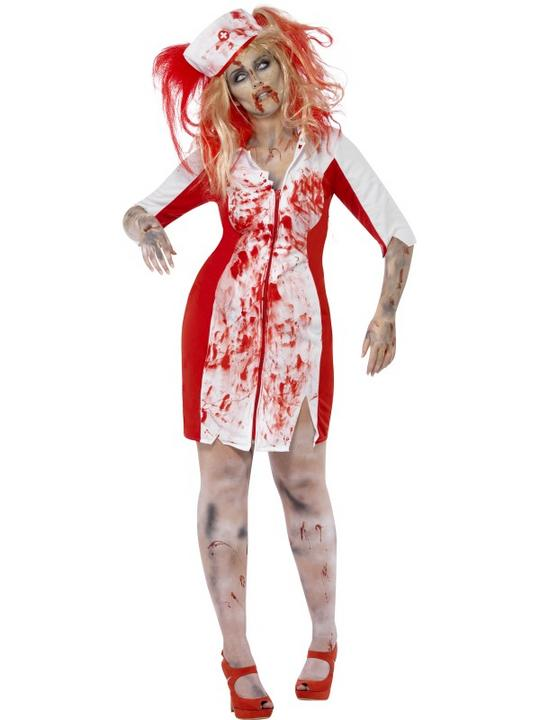 Adult Fuller Figure Sexy Zombie Nurse Ladies Halloween Party Fancy Dress Costume Thumbnail 1