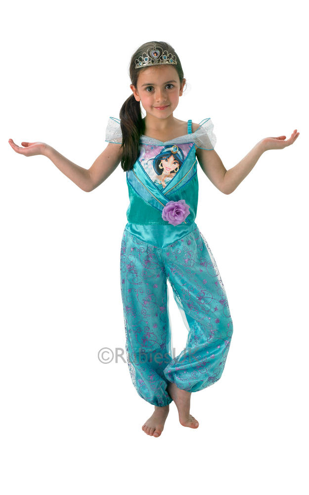 Child Disney Princess Jasmine Shimmer Girls Book Week Fancy Dress Kids Costume