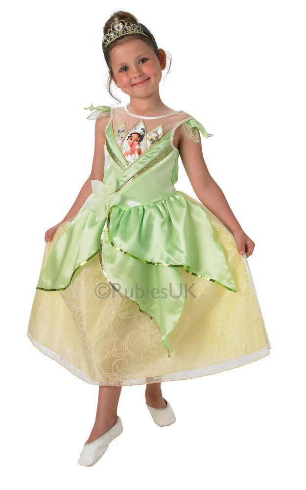 Child Disney Princess Shimmer Tiana Girls Book Week Fancy Dress Kids Costume