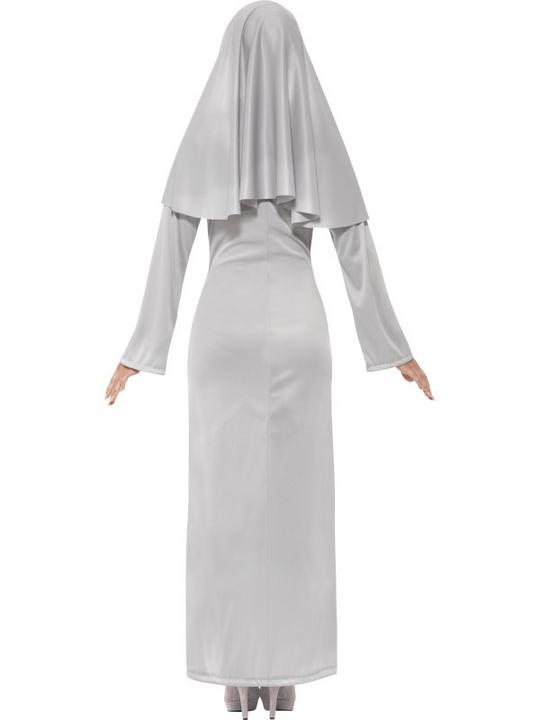 Adult Sexy Ghostly Gothic Zombie Nun Ladies Halloween Fancy Dress Costume Outfit Thumbnail 2
