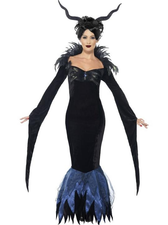 Adult Sexy Maleficent Raven Ladies Halloween Party Fancy Dress Costume Outfit Thumbnail 1