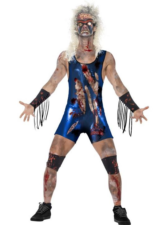 Adult WWF Walking Dead Zombie Wrestler Mens Halloween Fancy Dress Costume Outfit Thumbnail 1